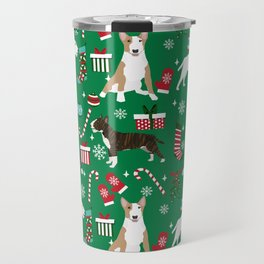 Bull Terrier christmas holiday pet pattern stockings presents dog breed gifts Travel Mug