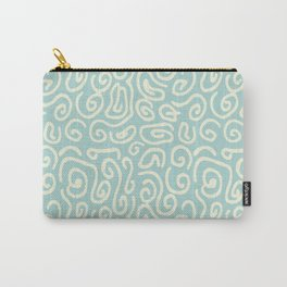 Off white and mint green abstract swirls pattern Carry-All Pouch