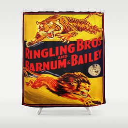Vintage Circus Poster - Tiger & Lion Shower Curtain