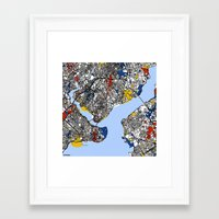 istanbul Framed Art Prints featuring Istanbul by Mondrian Maps