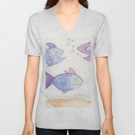 Happy Fish! by Cassie, Group of 5 Unisex V-Neck