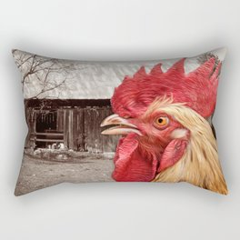 Rooster Looks At Barn Rectangular Pillow