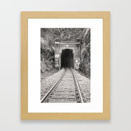 Bellingham Railroad Tunnel, Washington Trains, Northwest Landscape, Sepia Print Framed Art Print