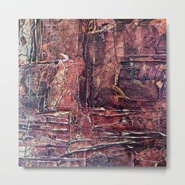 Distressed Work Acrylic Abstract Painting Metal Print