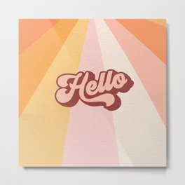 Retro 'Hello' Sunshine - Peachy Metal Print