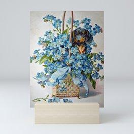 Dachshund and Forget-Me-Nots Mini Art Print