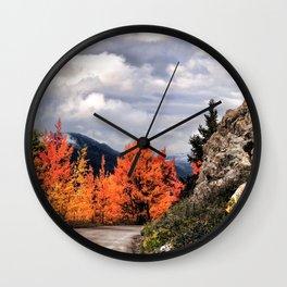 Autumn Mountain Road Wall Clock