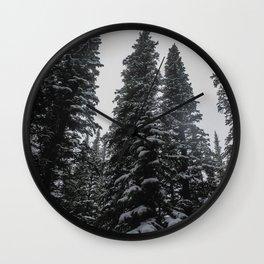 Winter Pine Trees Wall Clock