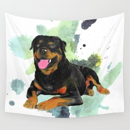 Rottweiler happy Wall Tapestry