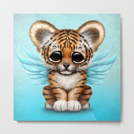 Cute Baby Tiger Cub with Fairy Wings on Blue Metal Print