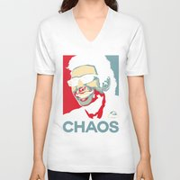 jurassic park V-neck T-shirts featuring 'Chaos' Ian Malcolm (Jurassic Park) by Tabner's