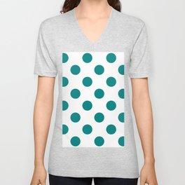 Large Polka Dots - Dark Cyan on White Unisex V-Neck