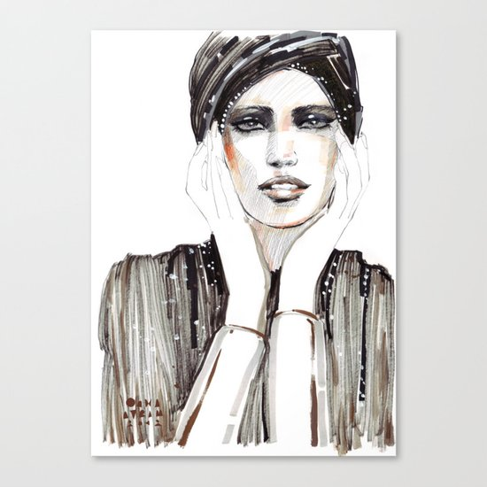 Fashion sketch in markers and pencil Canvas Print