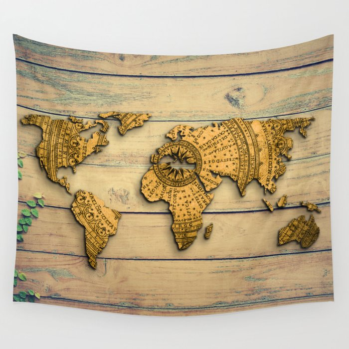 Vintage world map wall tapestry by mapmaker society6 vintage world map wall tapestry gumiabroncs Images
