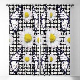 BLACK-WHITE DAISIES & MONARCH BUTTERFLIES ART Blackout Curtain