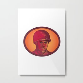 World War Two American Soldier Head Watercolor Metal Print