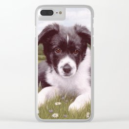 Border Collie Puppy Painting Clear iPhone Case