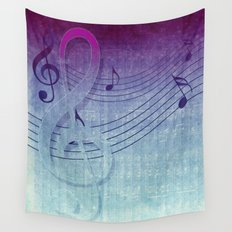 Aqua Purple Ombre Music Notes Wall Tapestry