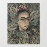 frida kahlo Canvas Prints featuring Frida Kahlo by Antonio Lorente