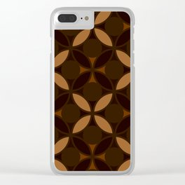 Geometric Floral Circles In Browns & Orange Clear iPhone Case