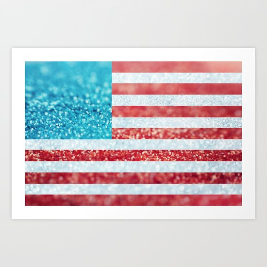 Red, White, and Glitter (Photo of Glitter) Art Print