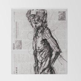 Saint - Charcoal on Newspaper Figure Drawing Throw Blanket