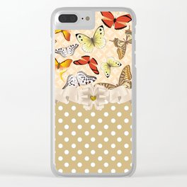 Assorted Cool Butterflies and Polka Dots Clear iPhone Case