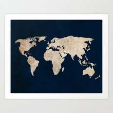 Inverted Rustic World Map Art Print