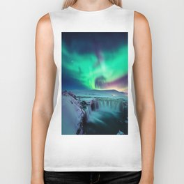 Aurora Borealis Over A Waterfall Biker Tank