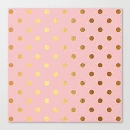 Gold polka dots on rose gold background - Luxury pink pattern Canvas Print