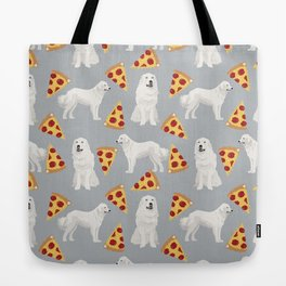 Great Pyrenees pizza dog portrait custom dog breed art print dog person gifts for christmas Tote Bag