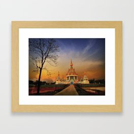 Buddhist Temple At Twilight. Framed Art Print