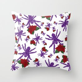 Poinsettia Spiders White Throw Pillow