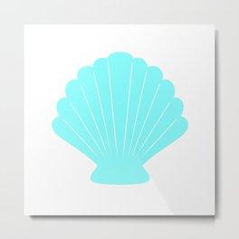 Seashell (Aqua & White) Metal Print