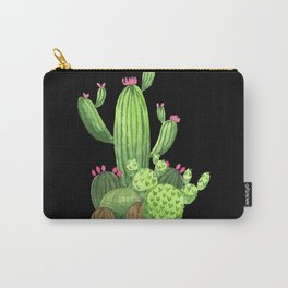 Flowering Cactus Bunch on Black Carry-All Pouch
