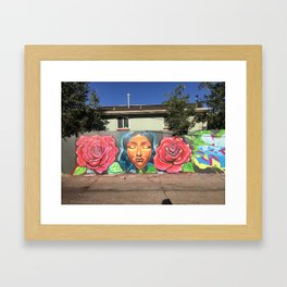 Roses and Face Framed Art Print