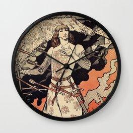 Sarah Bernhardt as Joan of Arc vintage theatre ad Wall Clock