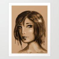 Girl in Sepia Art Print