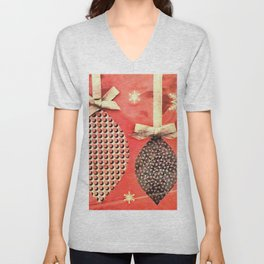 Coral Colored Hanging Christmas Ornaments Unisex V-Neck