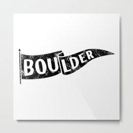 Boulder Colorado Pennant Flag // University College Dorm Room Graphic Design Decor Black & White Metal Print