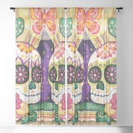 Sugar Skull Couple - Peace & Love Day of the Dead Skull Art by Thaneeya McArdle Sheer Curtain