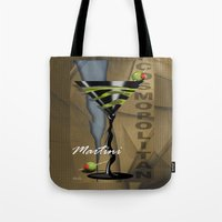 martini Tote Bags featuring COSMOPOLITAN MARTINI by Cheryl Daniels