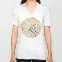 summer V-neck T-shirts featuring Gold Ivy by Cat Coquillette