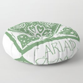 Cariad, darling sweetheart Welsh lino print green Floor Pillow