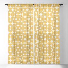 Mid Century Modern Geo 04B Yellow Sheer Curtain