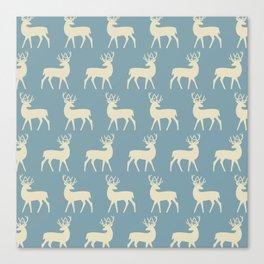 Mid Century Modern Deer Pattern Venetian Blue and Tan Canvas Print
