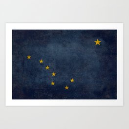 Alaska State Flag, Vintage retro version Art Print