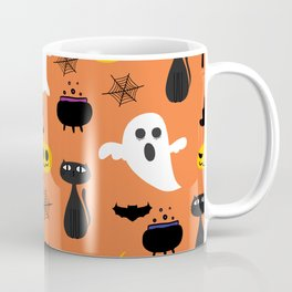 Spooky halloween pattern ghosts, cats and trees Coffee Mug