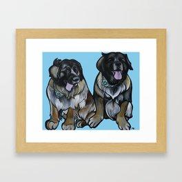 Simba and Snuffaluffagus the Leonbergers Framed Art Print