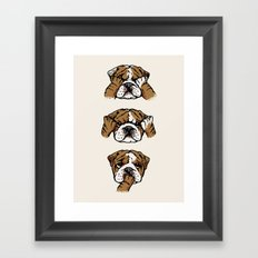 No Evil English Bulldog Framed Art Print